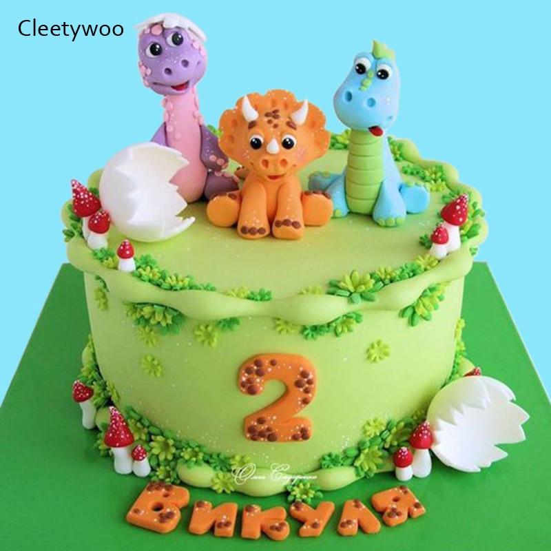 Cute Dinosaur Cake Topper Jungle Safari Dinosaur Cupcake Decor Forest Animal Cake Decor 1st Boy Birthday Party Jurassic World
