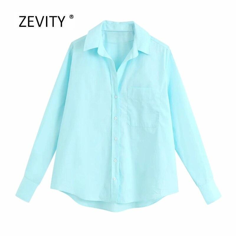 2020 여성 패션 솔리드 컬러 포켓 패치 긴 소매 작업복 블라우스 사무실 레이디 브레스트 셔츠 캐주얼 슬림 blusas 탑스 LS6762