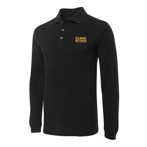 Polo for US Army Retired Embroidery Long Sleeve Polo Shirts Embroidered Men's Shirts