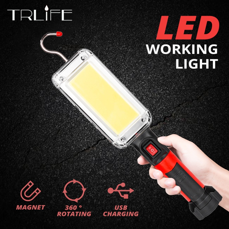 20w cob led spotlights powerful usb 18650 led work light rechargeable lampe led flashlight waterproof for outdoor camping lights Portable Lantern LED Work Light Hook Magnet Camping Lamp COB USB Rechargeable 18650 Flashlight Torch Waterproof Highlight forcar