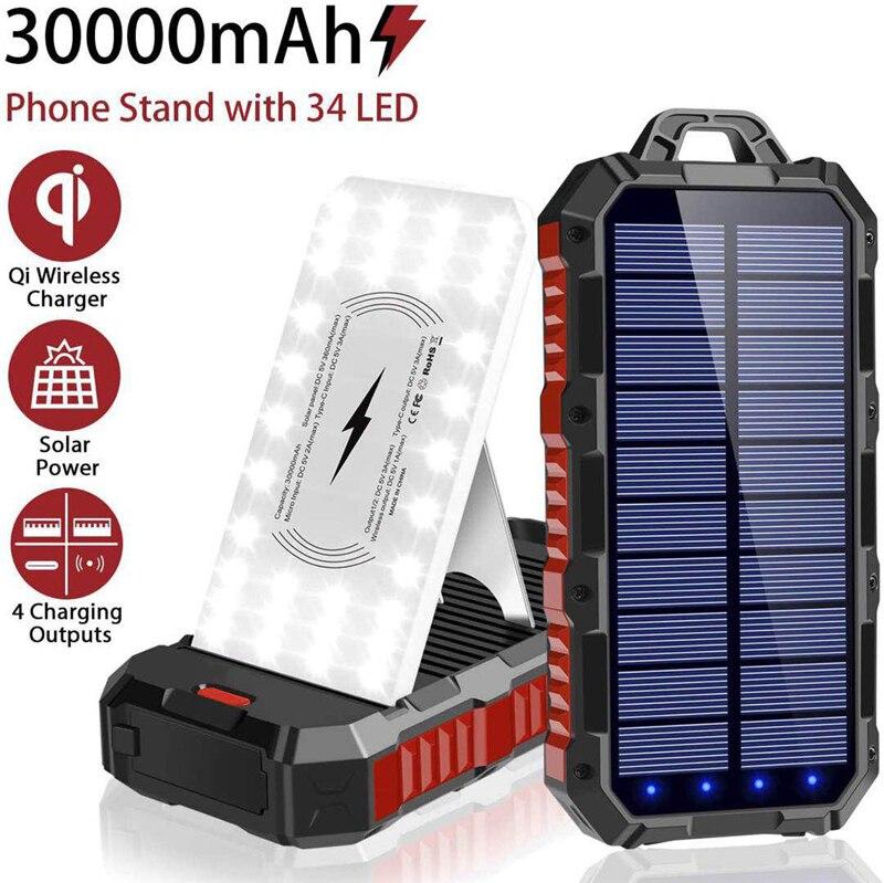 30000mAh بنك الطاقة الشمسية اللاسلكية المحمولة شاحن سريع Powerbank آيفون 12 سامسونج S21 شاومي Poverbank مع التخييم الخفيفة
