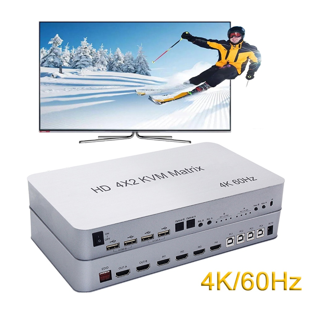 4 Port USB HD KVM Matrix 4X2 Dual Monitor 4K@60Hz HDR Switch Splitter 4 in 2 out HD 2.0 Switcher For USB2.0 Keyboard Mouse PC