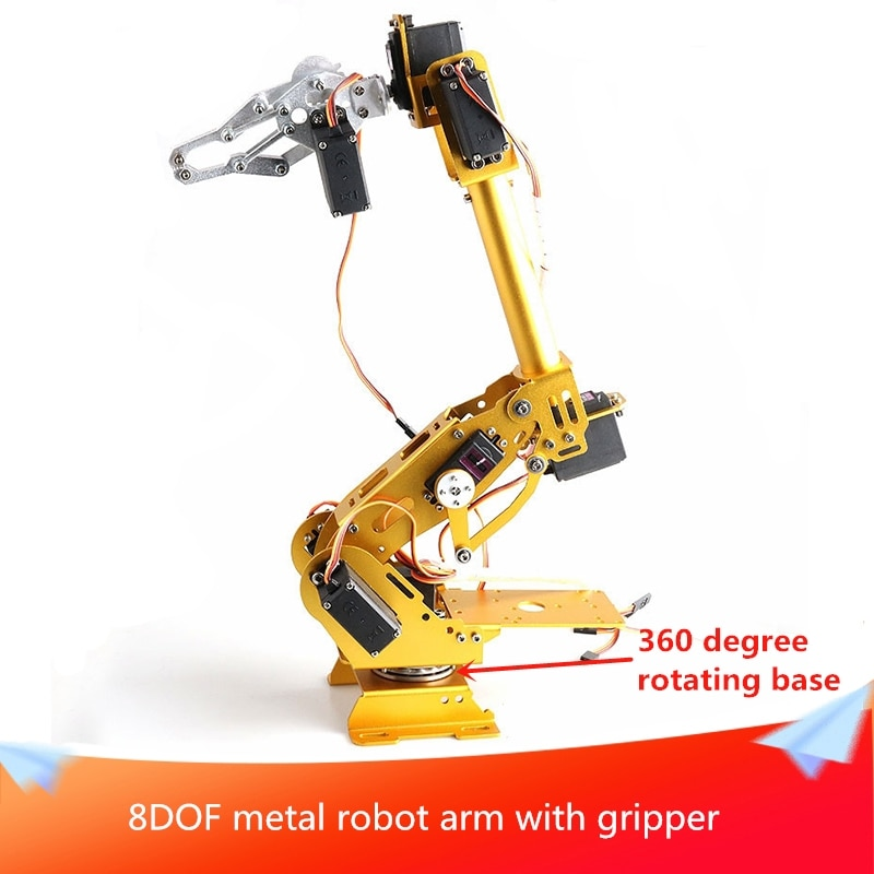 8-Axis Metal Robot Arm with Gripper 8-DOF Manipulator 360 Degree Rotating Base 8pcs Digital Servo Ed