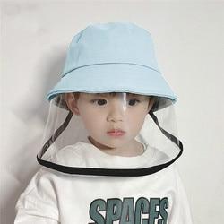 Crianças multifuncional crianças anti-gotículas viseira escudo balde chapéu rosto capa protetora bonito anti-nevoeiro chapéu chapéu chapéu crianças