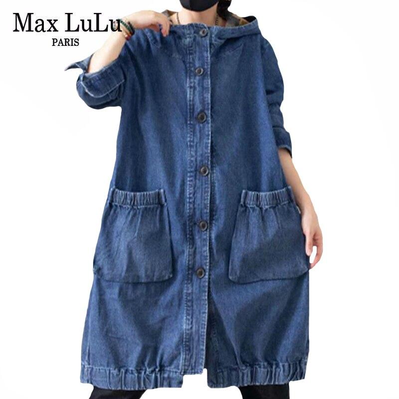 Max LuLu 2020 Neue Herbst Koreanische Designer Damen Vintage Streetwear Damen Hoodies Denim Gräben Casual Übergroßen Windjacken