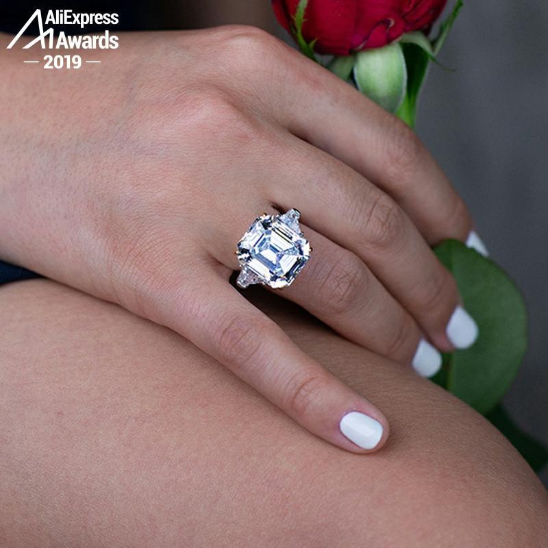 14*16mm Emerald Cut  6.18 Sale S925 Sterling Silver Ring SONA Diamond Halo citrine sapphire amethyst ruby coloured diamond