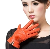 real leather womens glove colorful genuine leather gloves female sheepskin gloves womens thin thermal mink hair ball 2017 new