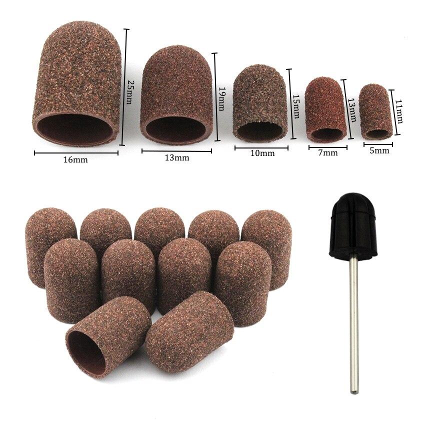 50 Pcs/Set 80# Grit Nagel Schleifen Caps Gummi Grip Pediküre Polieren Sand Block Elektrische Bohrer Zubehör Bit Maniküre werkzeuge