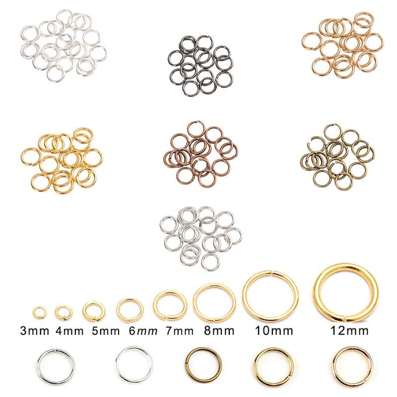 Металлические кольца-коннекторы для бижутерии, разъемы для бижутерии, аксессуары для поделок, 200 шт./лот, 4, 5, 6, 8, 10, 12 мм