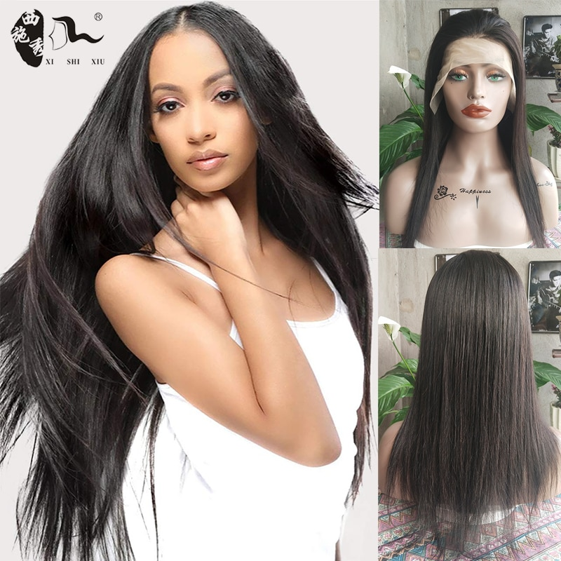Straight Human Blend Hair Lace Wigs 14-30 Inch Lace Front Wig Short Bob Lace Frontal Blend Human Hair Wigs For Black Women Wig
