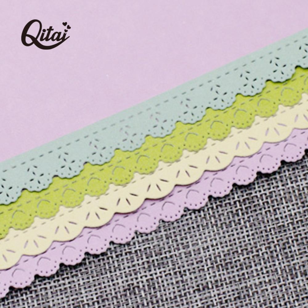 QITAI 3pcs/pack Lace Decorative Cards Edges Cutting Dies Stencils DIY Scrapbook Embossing Craft Album Paper Cards Die Cut D263