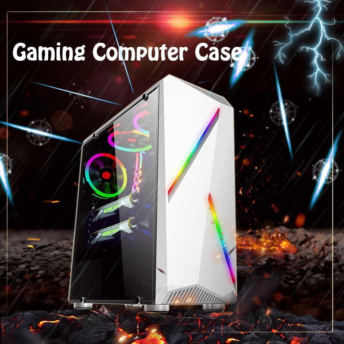 LEORY Transparente Computer PC Fall Gaming ATX Audio mit 2 RGB Farbwechsel Licht Streifen 350X170X420mm