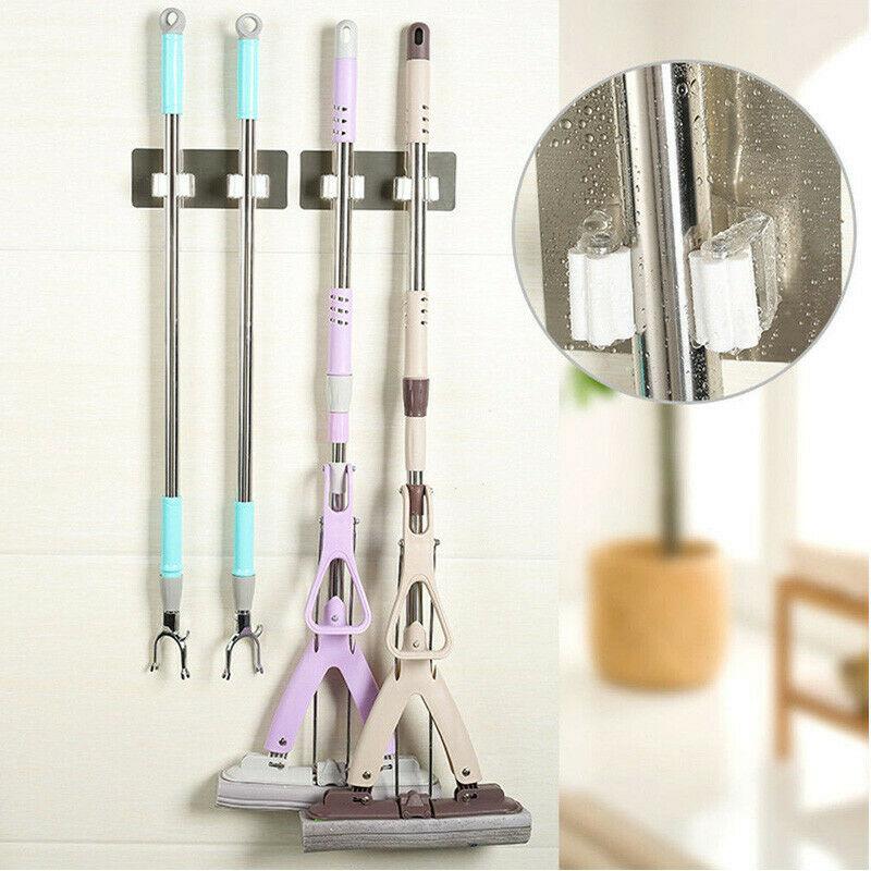 Soporte de pared para baño, fregona mágica y soporte de escoba, colgador, organizador de Herramientas de limpieza