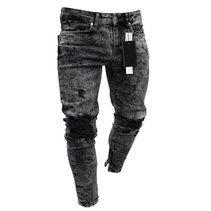 2021 Мужская одежда, джинсовые штаны, потертые свободные облегающие повседневные брюки, Стрейчевые рваные эластичные джинсы-Карандаш Стретч