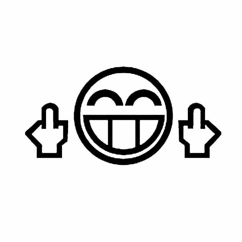 Автомобильная наклейка средний палец забавное лицо ПВХ автомобильная Наклейка Автомобильная наклейка черный/Серебряный 14,2 см * 7,1 см