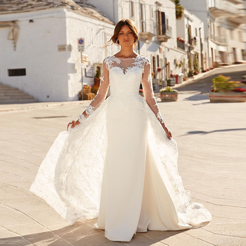 Long Sleeves Mermaid Wedding Dress Lace Appliques With Detachable Train Two Pieces Bridal Gowns 2020 New  Robe De Mariee