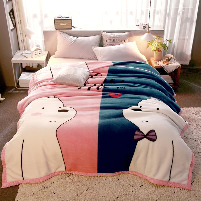 Funda de almohada J2 con bonito Oso de dibujos animados estilo polar colcha de tela sábana de cama manta 150X20 0cm/180x22 0cm/200x230cm