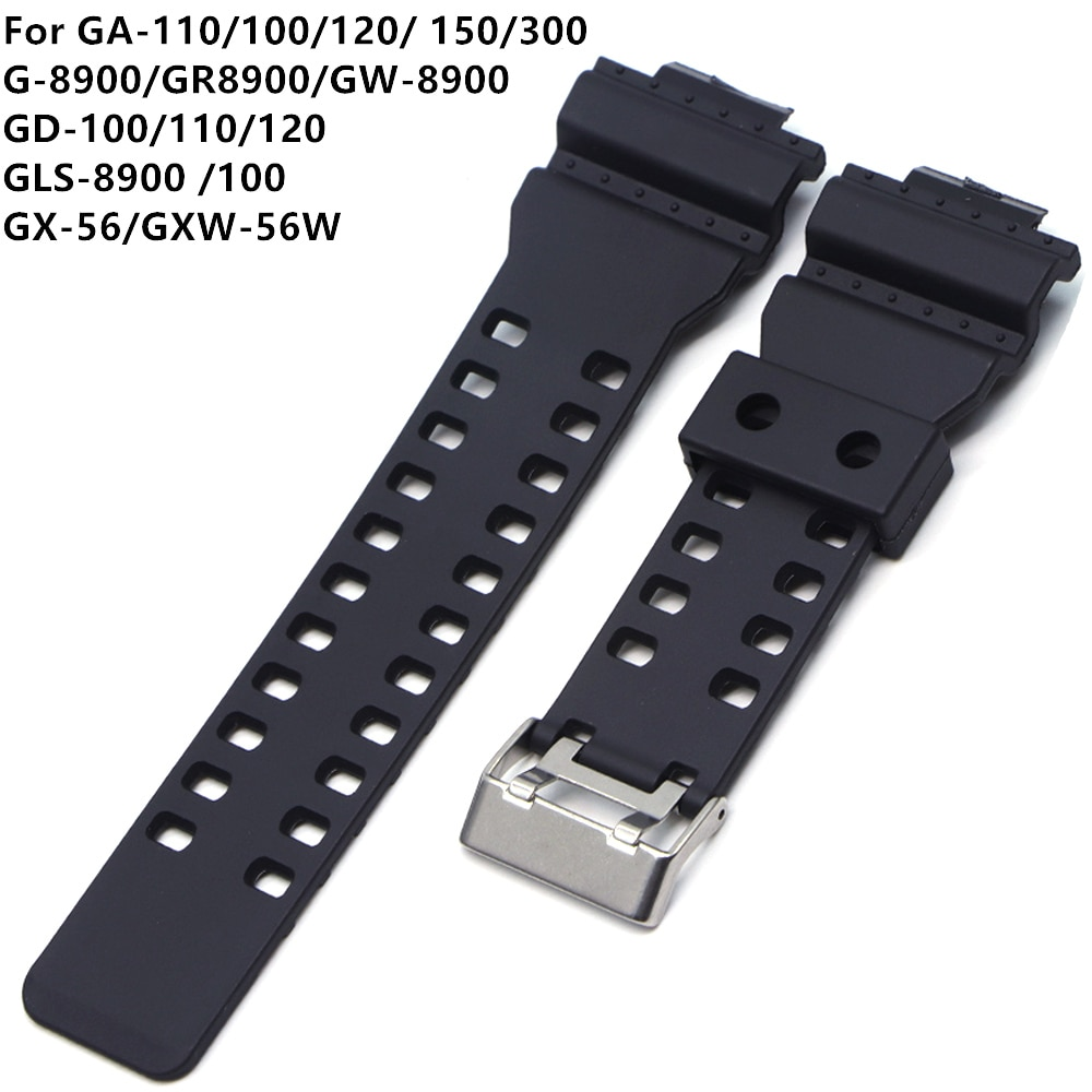 16mm Silicone Rubber Watch Band Strap Fit For Casio G Shock Replacement Black Waterproof Watchbands Accessories GD-100 G-8900