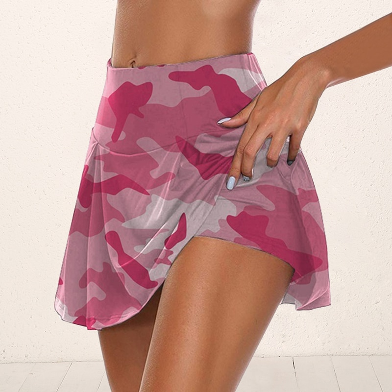 Women Camouflage Sports Tennis Golf Running Skort Skirt Active Athletic Yoga Fitness Skirts Quick Drying Women DyeTennis Skirt