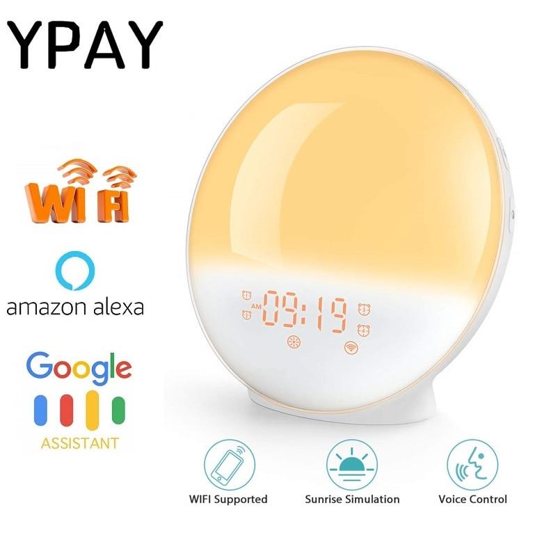 WIFI amanecer reloj de alarma luz FM Radio activación inteligente LED luz de Amanecer APP con Alexa/Google 7 colores Amanecer de simulación