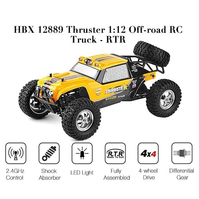 HBX 12889 112 4WD 2,4G RC coche propulsor Drift LED luz de Control remoto desierto camión todoterreno