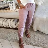 pants long lace up solid color trouser new 2021 pencil pockets autumn spring cargo jeans plus size office elastic waist fashion