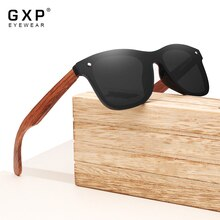 GXP Retro Fashion Style Natural Wooden Frame Sunglasses Mirror Eyewear 100%Polarized Lens UV400 Men