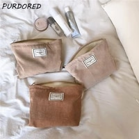 purdored 1 pc soft corduroy makeup bag for women large solid color cosmetic bag travel makeup storage organizer girl beauty case