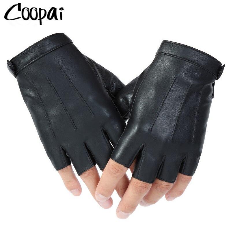 Guantes de cuero sintético para hombre, manoplas de medio dedo, Punk, al...