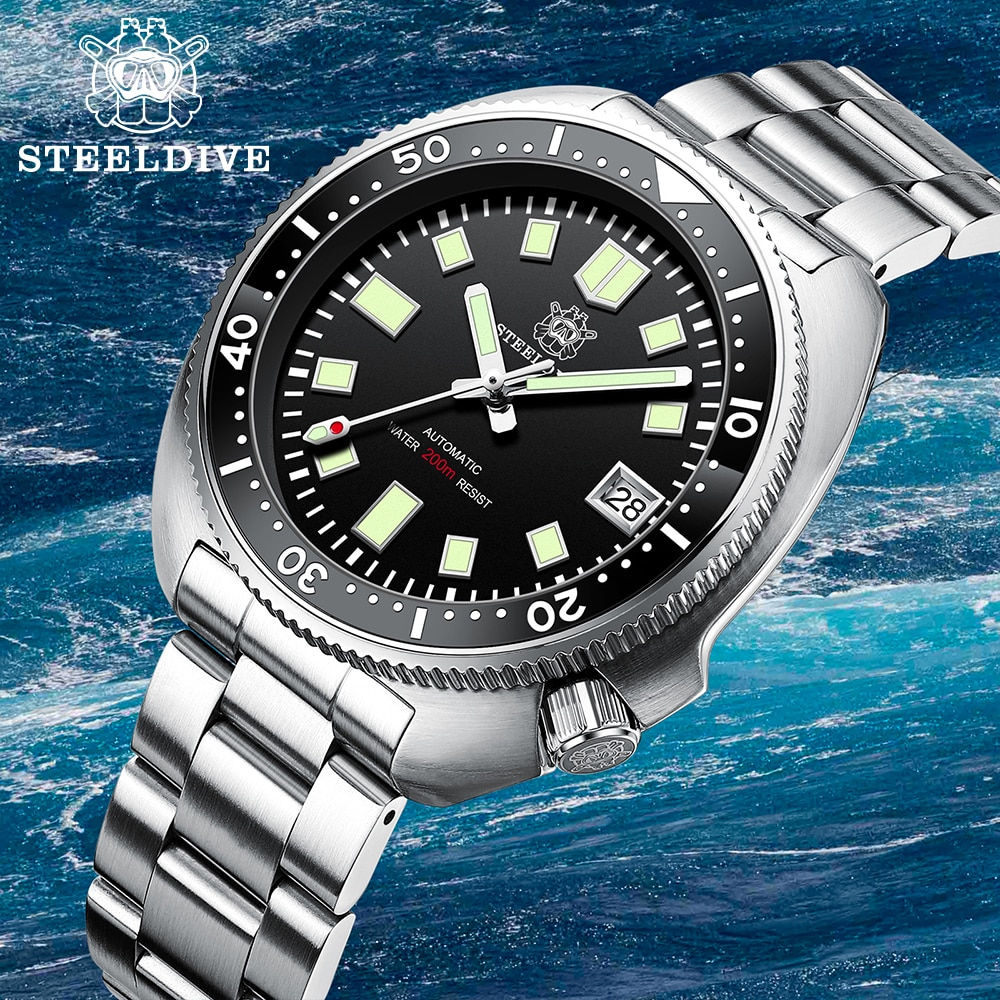 Steeldive SD1970 Turtle Diver Watch 20 Bar Stainless Steel Men Automatic Mechanical Sapphire Glass Luminous
