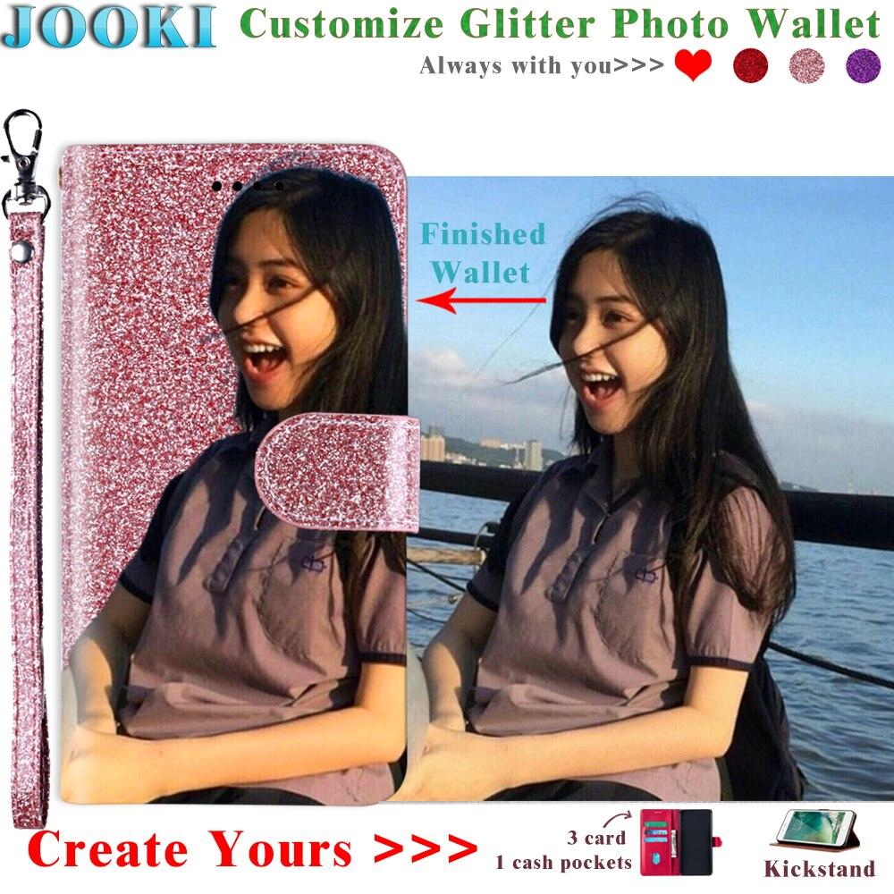 Aquos S3 mini funda purpurina personalizada foto Cartera de cuero para Sharp Aquos S3 mini Cartera de cuero rosa para mujer bolsa