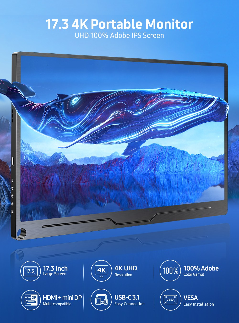 UPERFECT Portable Monitor For Samgsung DEX 17.3 Inch 4K 3840*2160 UHD USB  C Second Screen Huawei PS4 XBOX Switch Display