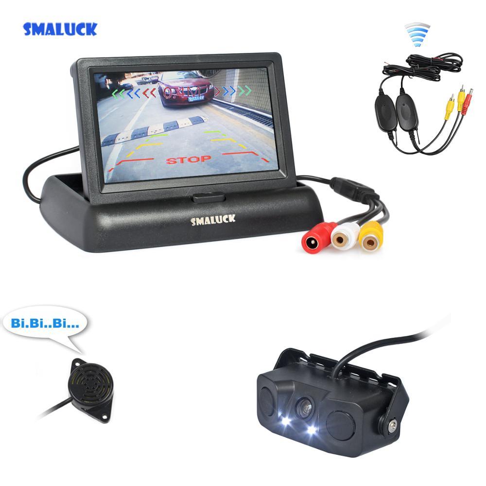 "SMALUCK inalámbrico 4,3 ""Kit de cámara de marcha atrás de coche Monitor de coche Video aparcamiento Sensor de Radar cámara de coche sistema de aparcamiento"