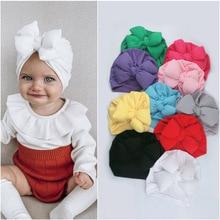 Diadema de algodón para bebé, turbante suave con lazo para niña, turbante elástico para niña, 2020