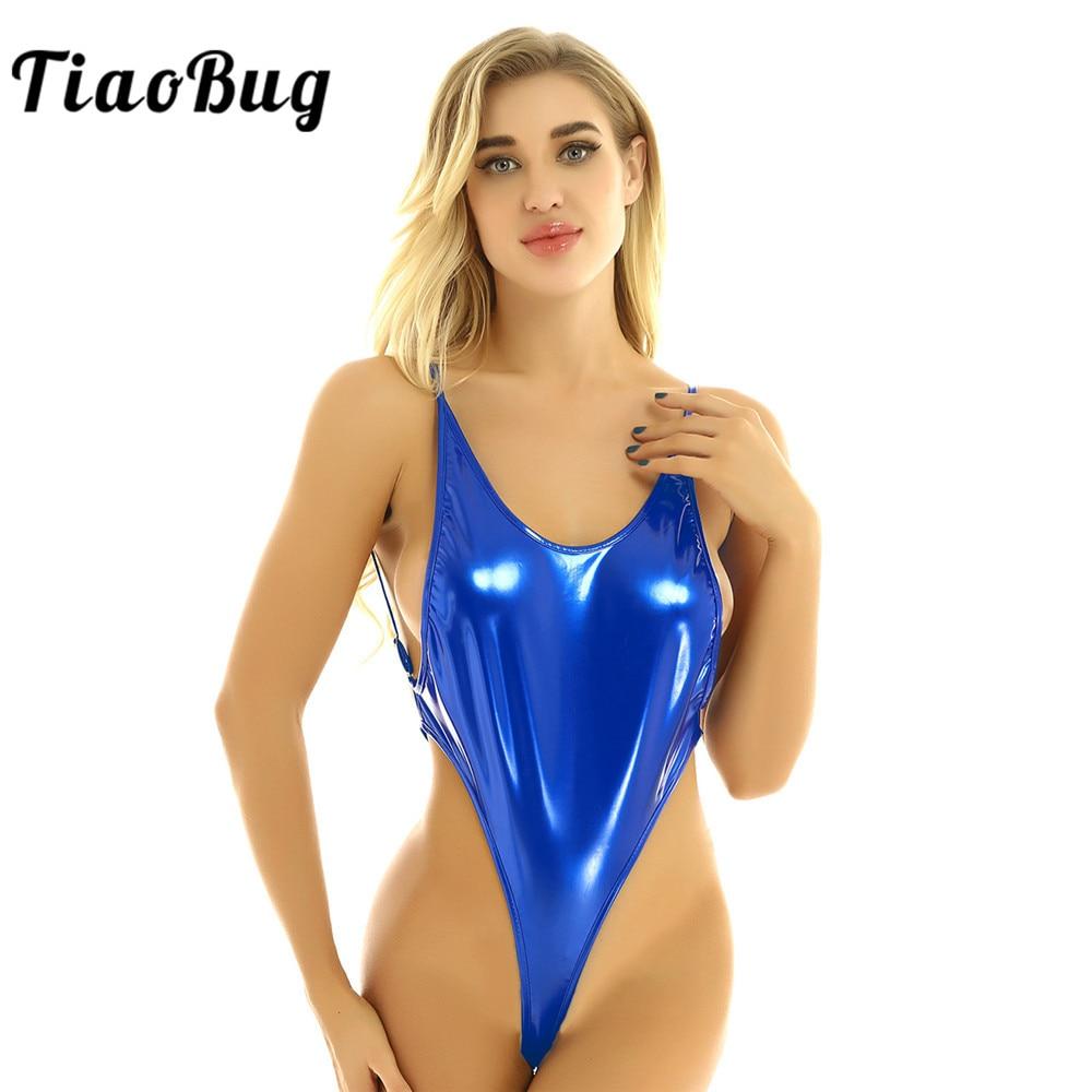 TiaoBug femmes Sexy chaudes Lingerie métallique brillante bretelles Spaghetti taille haute Micro G-string body maillot de bain maillot de bain maillots de bain
