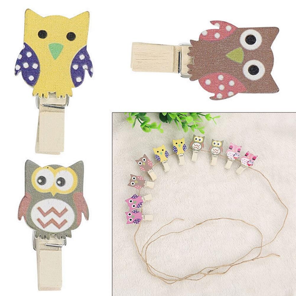 10pcs/Bag Kawaii Cute Owl Wooden Clip Photo Paper Postcard Craft DIY Clips with Hemp Rope Office Binding Supplies SD&HI