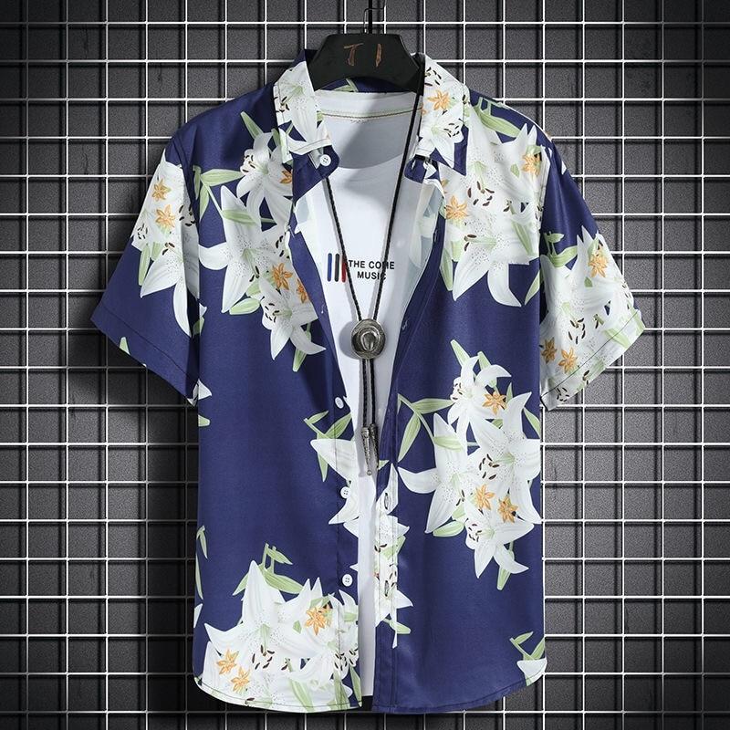 Гавайские пляжные рубашки, мужские повседневные рубашки с коротким рукавом, быстросохнущая одежда для морского отпуска, свободные топы с ц...