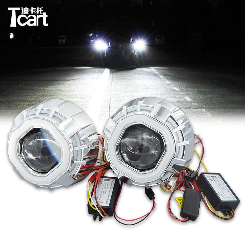 Tcart 1 conjunto novo automóvel led farol estilo do carro 2.8 Polegada duplo ccfl angel eyes lente anel de auréola para hid head lamp bi-xenon lente kit