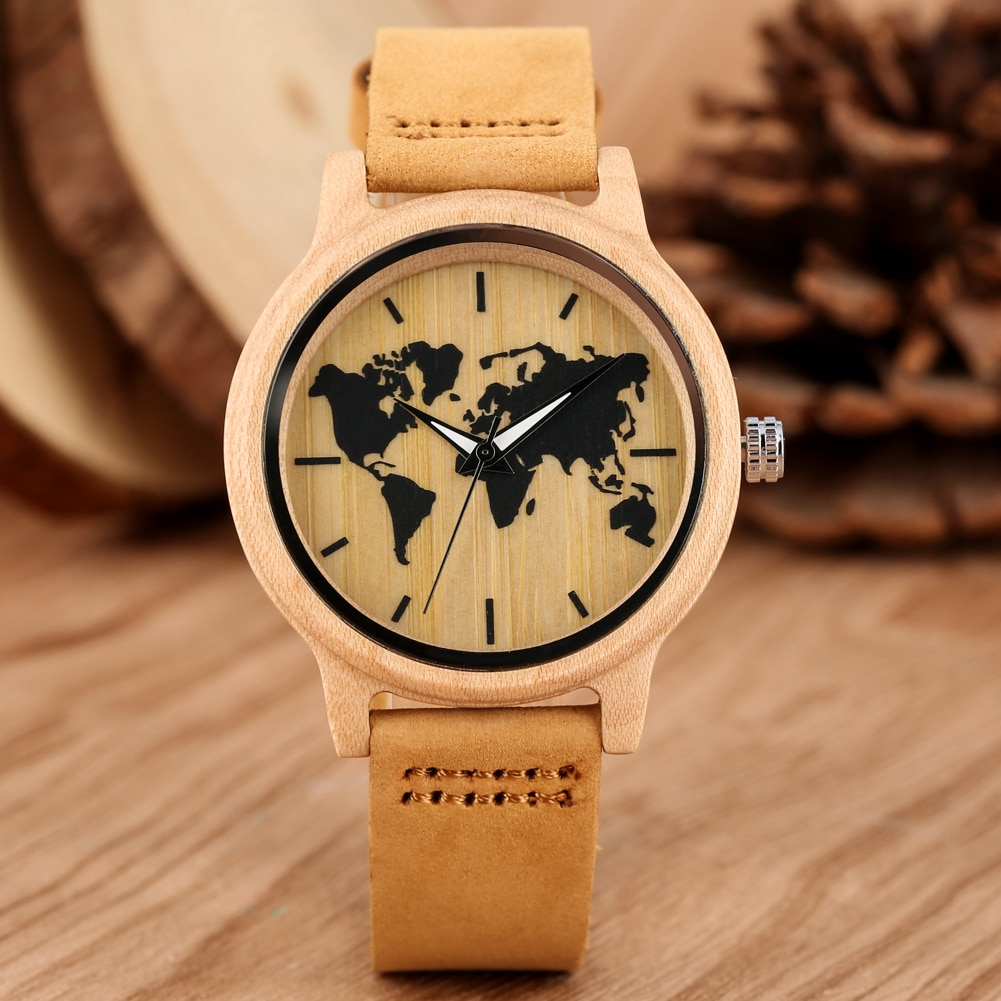 Carving World Map Wooden Watch Men Fashion Bamboo Wood Watches Handmade Wristwatch Genuine Leather Band Quartz Bangle black ink world map dial watch natural bamboo wood watch fashion casual leather men quartz analog round wristwatches clock male