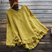 ZANZEA Printemps Volants Blouse grande taille Femmes décontracté Solide À Manches Longues Vintage Coton Travail tops tuniques Chemises Femme Blusas Chemise