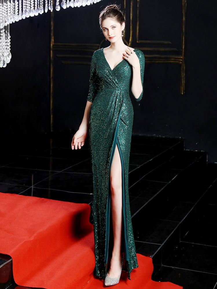 2021 جديد نصف كم فستان سهرة الترتر فستان رسمي مثير الخامس الرقبة فستان حفلات أنيقة عالية انقسام فساتين سهرة رداء دي Soriee