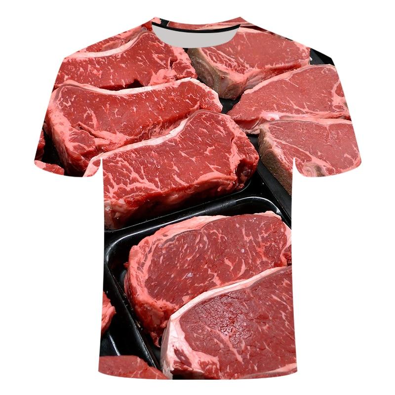 2021 summer pork beef t-shirt black pepper steak men's 3DT shirt hip hop street funny shirt animal cow top food pig shirt SSX-6L
