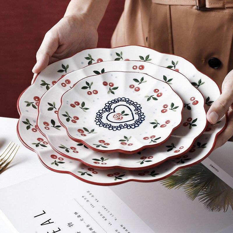1 قطعة طبق سيراميك زهرة ل سلطة الإفطار حساء لوحة السلطانية عشاء الغذاء الحاويات أواني المطبخ أدوات المائدة الخبز ستيك
