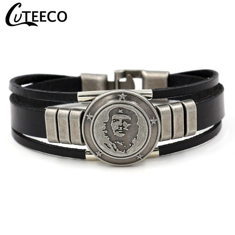 CUTEECO Punk Che Guevara Charm Cuff Bracelets Bangles Genuine Leather Bracelet for Women Mens Men Jewelry Accessories