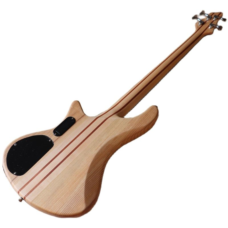 Hickory wood top ashwood 4 string bass guitar neck through active solid ashwood back and side electric bass guitar enlarge
