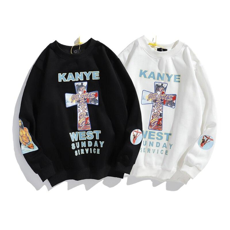 Kanye jésus est roi arc-en-ciel croix polaire sweat hommes et femmes étranger choses surdimensionnées sweats à capuche col rond veste à capuche décontractée ample