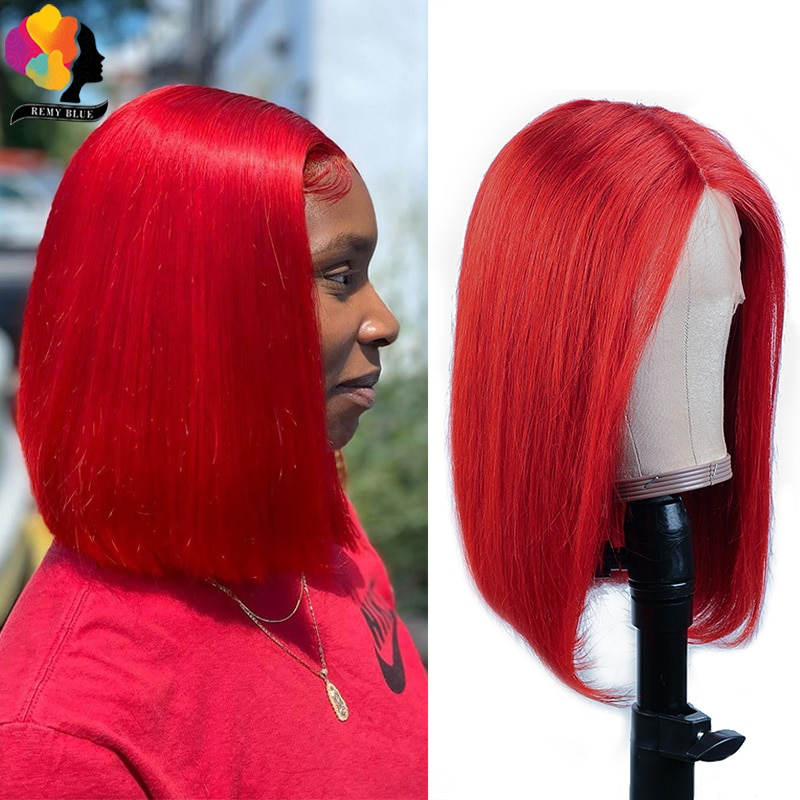 Remyblue Red Color Short Bob Human Hair Wigs For Woman Ginger Blonde Straight Lace Front Wigs Pre-color Red Brazilian Remy Hair