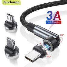 540 Data line Rotate Magnetic Cable Fast Charging Magnet Charger Micro USB Type-C Cable Mobile Phone