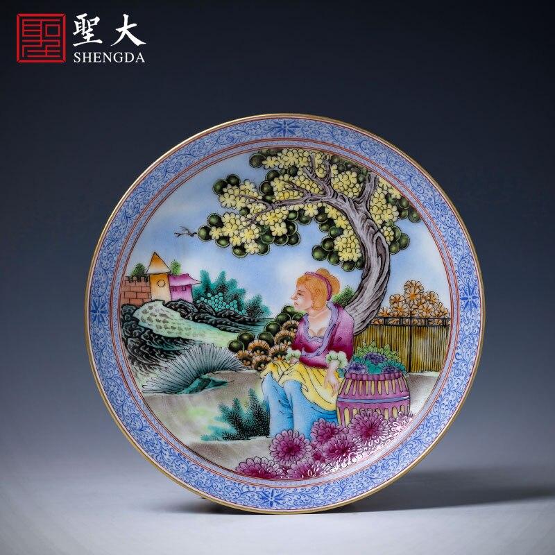 أصيص نباتات من السيراميك صينية الشاي رسمت باليد الباستيل الشكل الغربي نمط جاف فقاعة صينية الصحن يدوية Jingdezhen طقم شاي