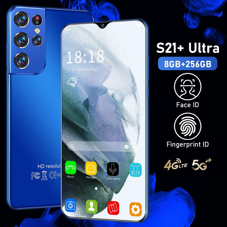 S21 + Ultra Andriod11 شاشة كاملة 6.7 بوصة معرف الوجه 256/512gb الهواتف المحمولة 24 + 48 ميجابكسل 6500mah كور 5g الهواتف الذكية